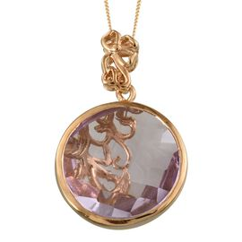 GP Rose De France Amethyst (Rnd 17.72 Ct), Kanchanaburi Blue Sapphire Pendant With Chain in 14K Gold Overlay Sterling Silver 17.750 Ct.