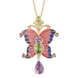 GP Rose De France Amethyst (Pear), Hebei Peridot and Kanchanaburi Blue Sapphire Pink Colour Enameled Butterfly Pendant with Chain (Size 18) in 14K Gold Overlay Sterling Silver 2.750 Ct.