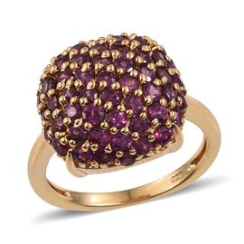 Rare Mozambique Grape Colour Garnet (Rnd) Cluster Ring in 14K Gold Overlay Sterling Silver 4.000 Ct.