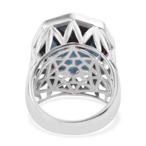 Indicolite Quartz (Octillion) Ring in Platinum Overlay Sterling Silver 20.000 Ct.
