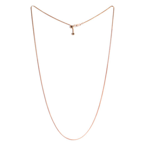 Vicenza Collection - Rose Gold Overlay Sterling Silver Adjustable Spiga Chain (Size 16 to 24). Silver wt. 4.60 Gms.