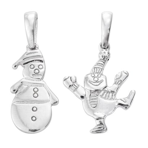 Set of 2 Snowman Silver Charm Pendant in Platinum Overlay, Silver wt 4 Gms.
