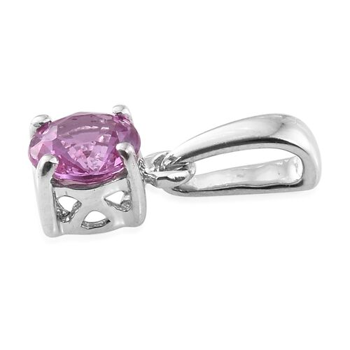 ILIANA 18K White Gold AAA Pink Sapphire (Rnd) Solitaire Pendant 0.500 Ct.