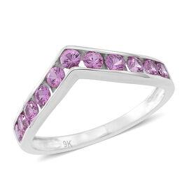 9K White Gold AA Pink Sapphire (Rnd) Wishbone Ring 1.000 Ct.