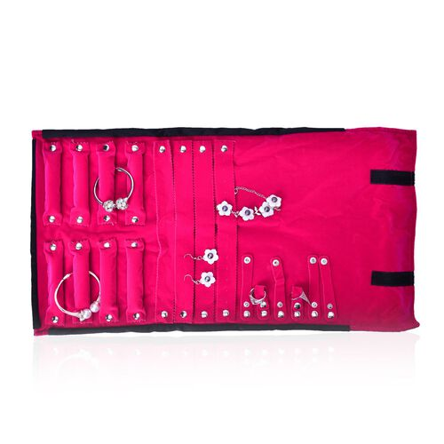 Black and Pink Colour Velvet Necklace, Bracelet, Ring and Earrings Holders with Button Closure (Size 55x30 Cm)