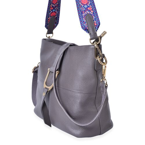 Genuine Leather Dark Grey Colour Crossbody Bag with Colourful Adjustable and Removable Shoulder Strap (Size 29X26X23X13 Cm)