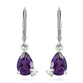 Amethyst 2 Ct Silver Lever Back Earrings in Platinum Overlay