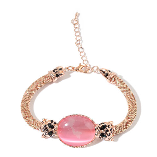 Simulated Pink Cats Eye and Green Austrian Crystal Bracelet (Size 8 with 2 inch Extender)
