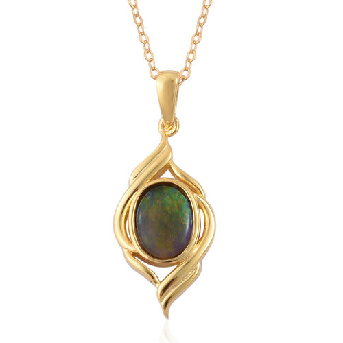 Canadian Ammolite (Ovl) Solitaire Pendant With Chain in Yellow Gold Overlay Sterling Silver 1.050 Ct.