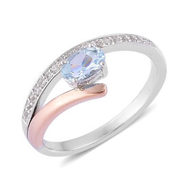Espirito Santo Aquamarine (Ovl), White Topaz Ring in Rhodium and 9K Rose Gold Overlay Sterling Silver