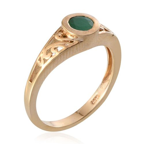 Kagem Zambian Emerald (Rnd) Solitaire Ring in 14K Gold Overlay Sterling Silver 0.500 Ct.