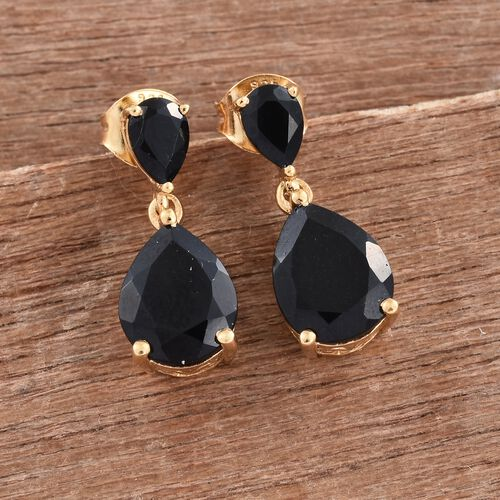 Black Tourmaline (Pear) Drop Earrings (with Push Back) in 14K Gold Overlay Sterling Silver 5.250 Ct.