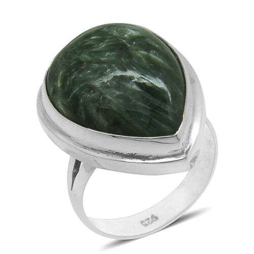 Royal Bali Collection Siberian Seraphinite (Pear) Ring in Sterling Silver 11.460 Ct.