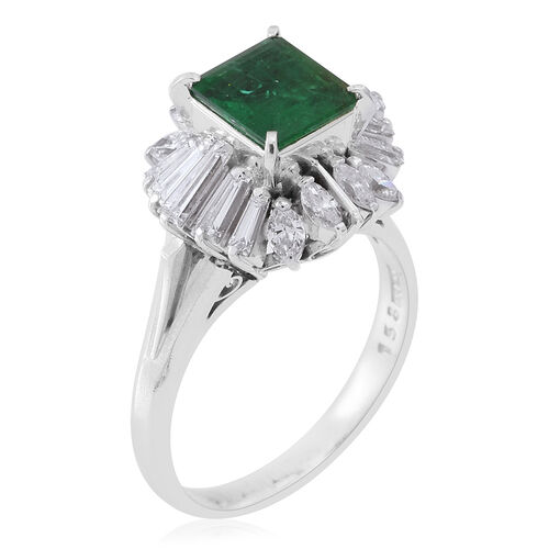 Signature Collection - 900 Platinum AAAA Boyaca Colombian Emerald (Oct 1.60 Ct), Diamond (SI to I1 G-H) Ring 3.150 Ct.Platinum Wt 7.85 Gm