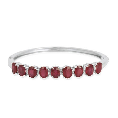 African Ruby (Ovl), Diamond Bangle (Size 7) in Platinum Overlay Sterling Silver 14.050 Ct.