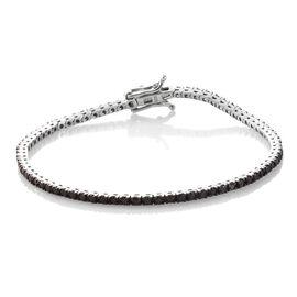 Limited Edition- Black Diamond (Rnd) Bracelet (Size 7.5) in Platinum Overlay Sterling Silver 4.000 Ct.