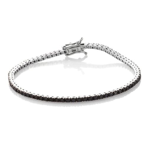 Limited Edition- Black Diamond (Rnd) Bracelet (Size 7.5) in Platinum Overlay Sterling Silver 4.000 Ct.