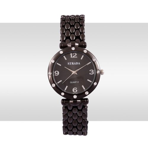 STRADA Japanese Movement Black Dial White Austrian Crystal Water Resistant Watch in Black Tone with Stainless Steel Back and Chain Strap