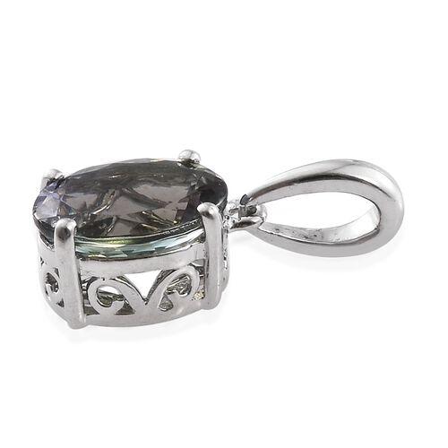 RHAPSODY 950 Platinum AAAA Green Tanzanite (Ovl) Solitaire Pendant 1.600 Ct.