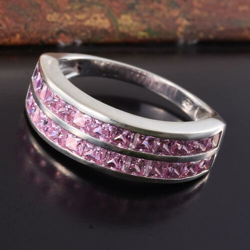 ELANZA AAA Simulated Pink Sapphire (Princess Cut) Ring in Sterling Silver