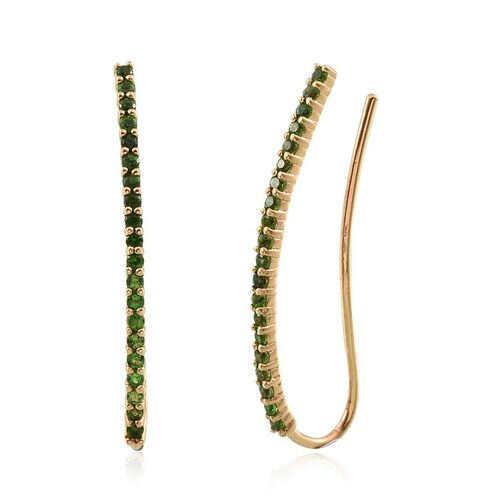 Russian Diopside (Rnd) Climber Earrings in 14K Gold Overlay Sterling Silver 1.000 Ct.