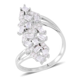Designer Inspired- ELANZA AAA Simulated White Diamond (Bgt) Fire Cracker Ring in Rhodium Plated Sterling Silver