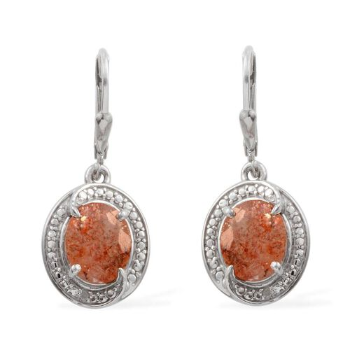 Tanzanian Sun Stone (Ovl), Diamond Lever Back Earrings in Platinum Overlay Sterling Silver 4.010 Ct.