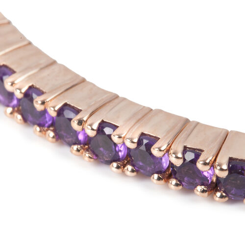 Amethyst (Rnd) Bangle (Size 7) in Rose Gold Overlay Sterling Silver 4.800 Ct. Silver wt 15.80 Gms.