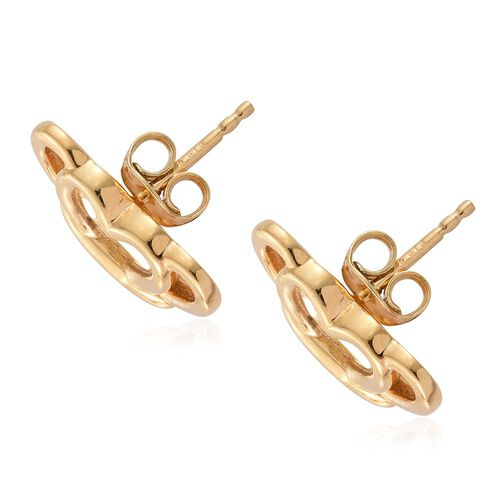 14K Gold Overlay Sterling Silver Half Butterfly Stud Earrings (with Push Back), Silver wt. 3.83 Gms.