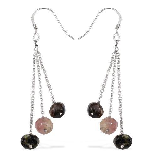 Rainbow Tourmaline (Rnd) Hook Earrings in Platinum Overlay Sterling Silver 8.160 Ct.