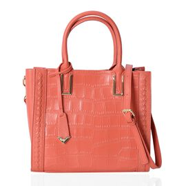 100% Genuine Leather Orange Colour Tote Bag with Removable Shoulder Strap (Size 28x24.5x12 Cm)