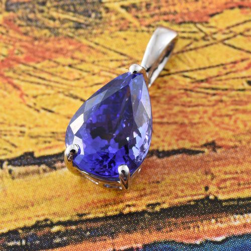 RHAPSODY 950 Platinum 2.50 Ct AAAA Tanzanite Pear Solitaire Pendant
