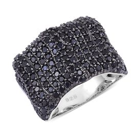 Boi Ploi Black Spinel Cluster Ring in Black Rhodium Plated Sterling Silver 3.900 Ct.