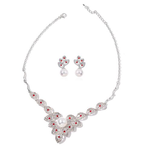 AAA White and Ruby Red Austrian Crystal and Simulated Pearl Necklace (Size 20 with 1 inch Extender) and Earrings (with Push Back) in Silver Tone