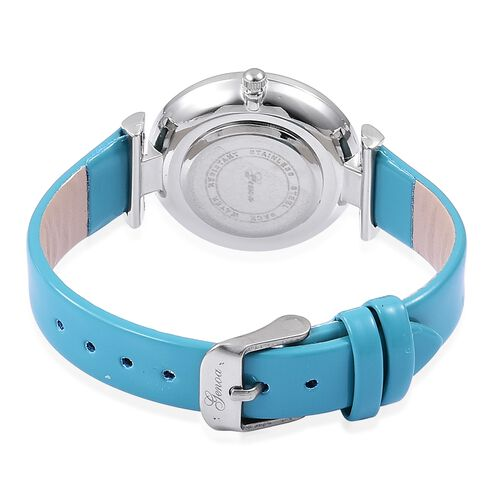 GENOA Diamond Studded MOP Dial Watch with Turquoise Colour Strap