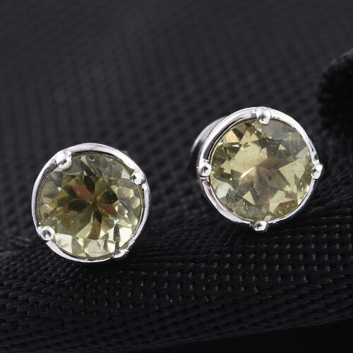 Natural Canary Apatite (Rnd) Stud Earrings in Platinum Overlay Sterling Silver 2.000 Ct.