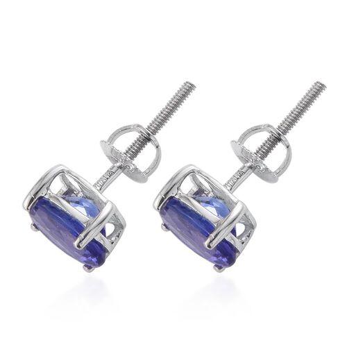 ILIANA 18K White Gold 2 Carat AAA Tanzanite Stud Earrings With Screw Back
