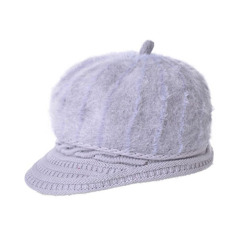 Grey Colour Knitted Newsboy Hat (Size 23X16 Cm)