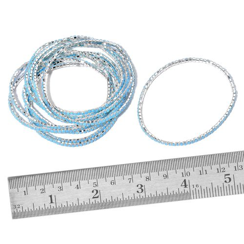 Set of 10 - Simulated Blue Howlite Stretchable Bracelet (Size 7) in Silver Tone