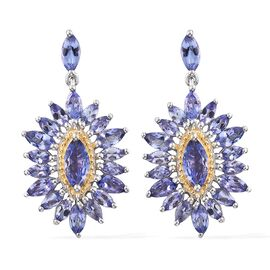 Designer Inspired-Tanzanite (Mrq) Earrings (with Push Back) in Platinum and Yellow Gold Overlay Sterling Silver 5.250 Ct. Silver wt. 5.60 Gms.