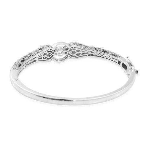 J Francis - Platinum Overlay Sterling Silver (Rnd) Panther Bangle (Size 7.5) Made with SWAROVSKI ZIRCONIA Number of Gemstone 363 Silver wt 22.90 Gms. (Equivalent Ct. wt 5.154)