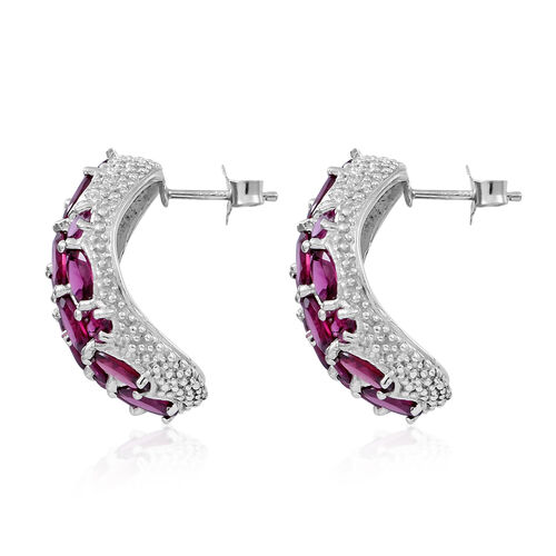 Rhodolite Garnet (Ovl) Stud Earrings (with Push Back) in Rhodium Plated Sterling Silver 18.000 Ct.