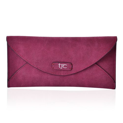 Set of 2 - TJC Envelope Design Burgundy Colour and Croc Embossed Black Colour Wallet (Size 20.5x10 Cm and 20x10 Cm)