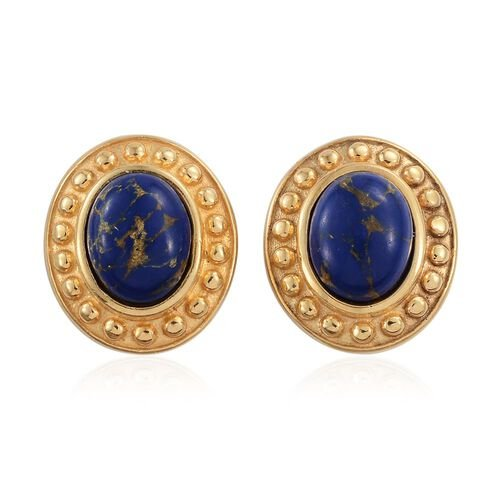 Lapis Mojave Turquoise (Ovl) Stud Earrings (with Push Back) in 14K Gold Overlay Sterling Silver 3.000 Ct.