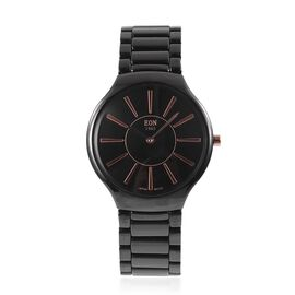 EON 1962 Sapphire Glass, Black Dial 3ATM Water Resistant Watch with Black Ceramic Strap-Slim Line