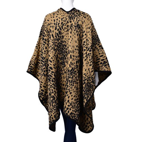 One Time Deal - Designer Inspired Black and Beige Colour Leopard Pattern Poncho (Size 130x80 Cm)