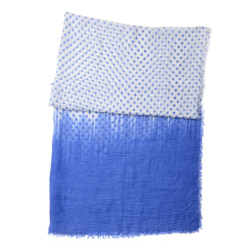 Designer Inspired-Blue and Off White Colour Polka Dots Pattern Scarf (Size 180x90 Cm)