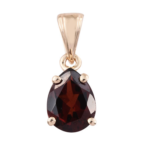 9K Yellow Gold 1.25 Ct AA Mozambique Garnet Solitaire Drop Pendant