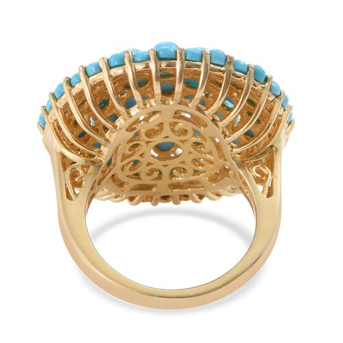 Arizona Sleeping Beauty Turquoise (Rnd) Cluster Ring in 14K Gold Overlay Sterling Silver 6.500 Ct. Silver wt 7.50 Gms.