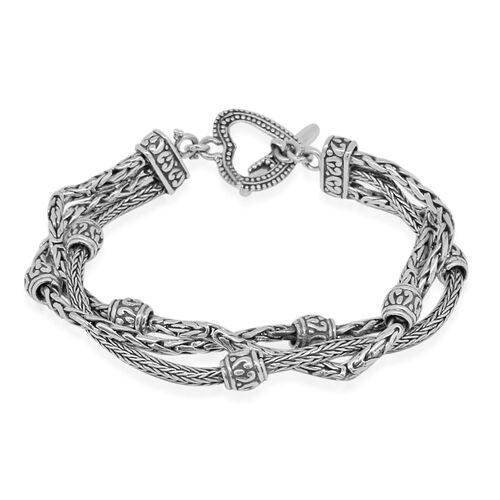 Royal Bali Collection Sterling Silver Borobudur, Tulang Naga and Padian Twirled Bracelet (Size 7), Silver wt. 28.81 Gms.